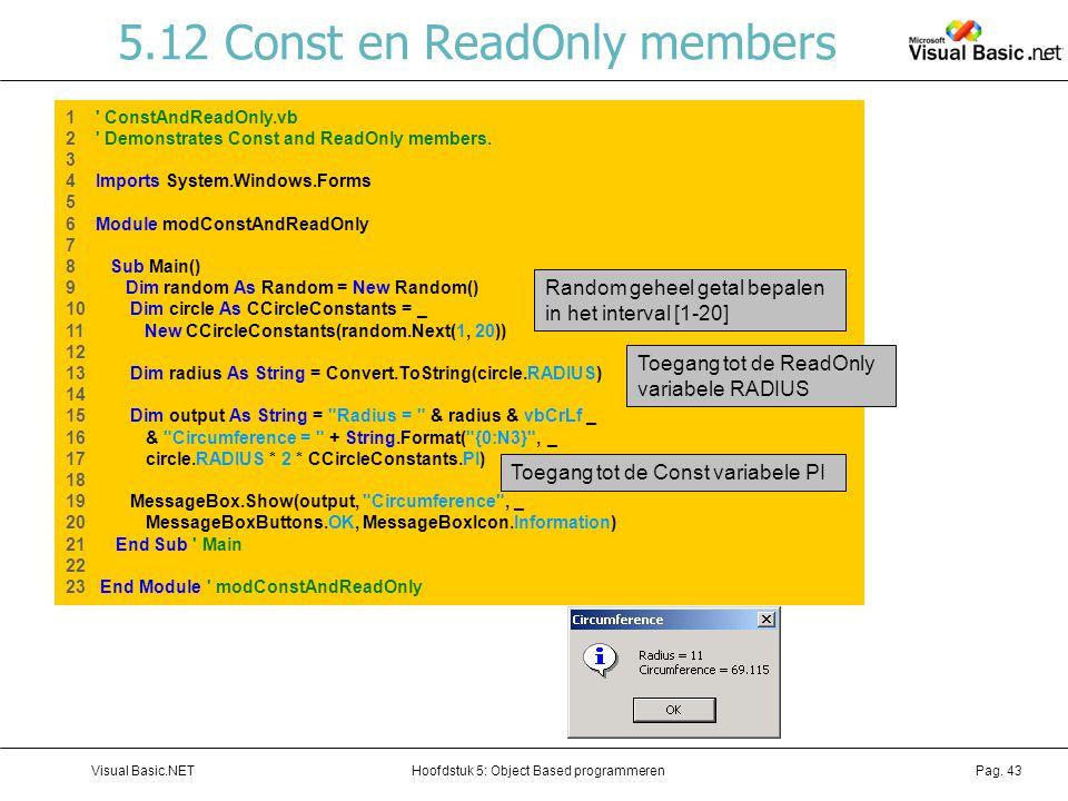 5.12 Const en ReadOnly members