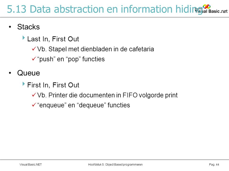 5.13 Data abstraction en information hiding