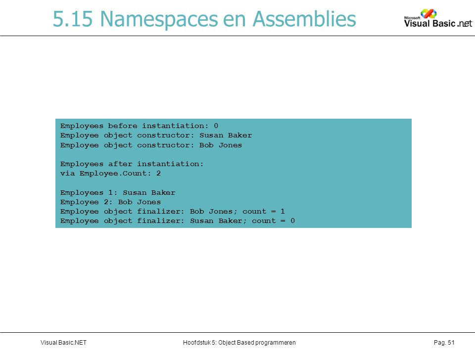 5.15 Namespaces en Assemblies