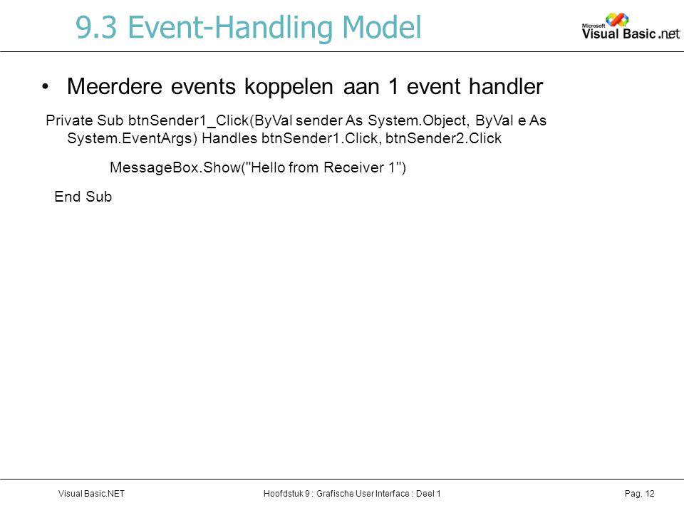 9.3 Event-Handling Model Meerdere events koppelen aan 1 event handler