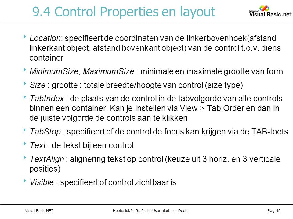 9.4 Control Properties en layout