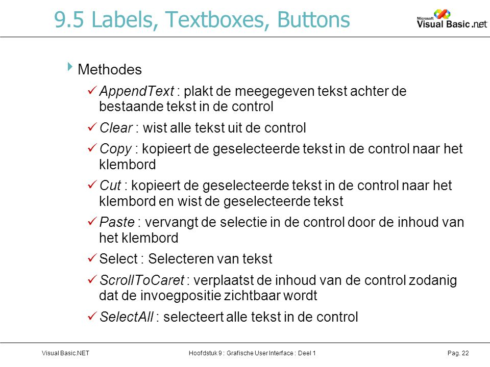 9.5 Labels, Textboxes, Buttons
