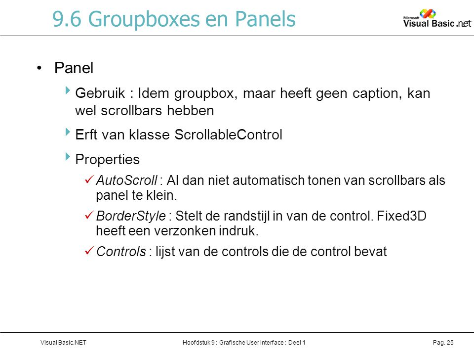 9.6 Groupboxes en Panels Panel