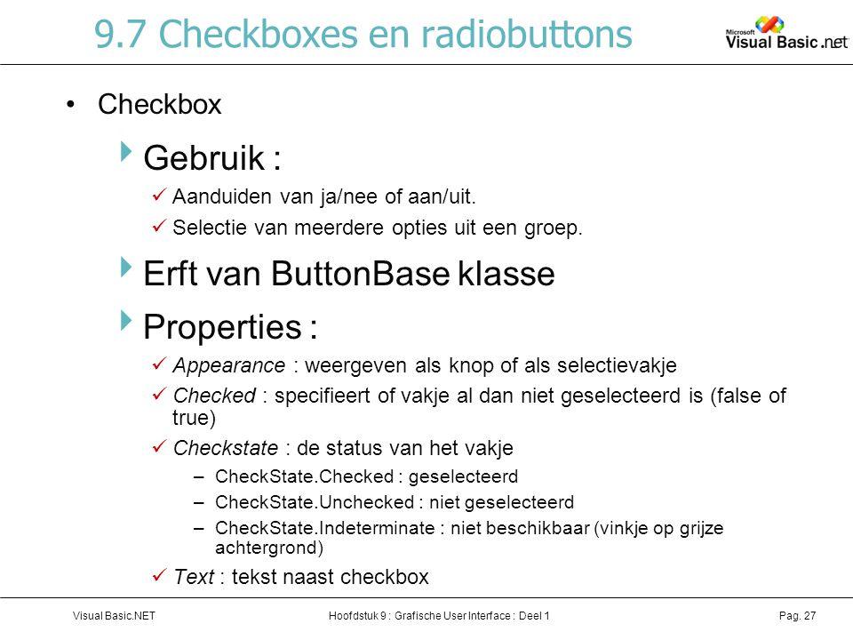9.7 Checkboxes en radiobuttons
