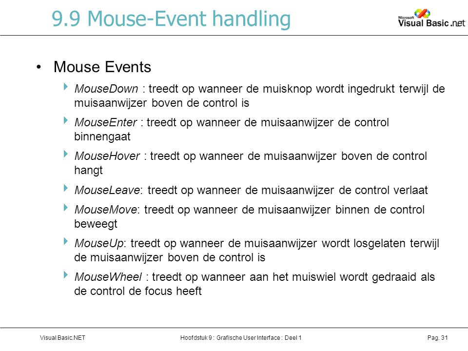 9.9 Mouse-Event handling Mouse Events