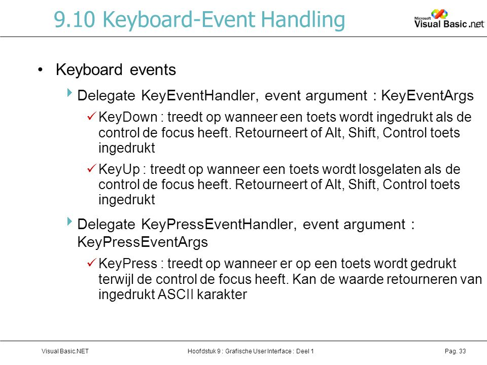 9.10 Keyboard-Event Handling