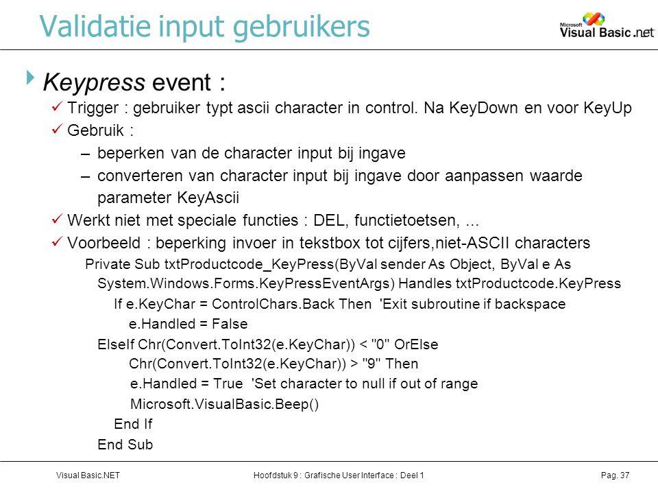 Validatie input gebruikers