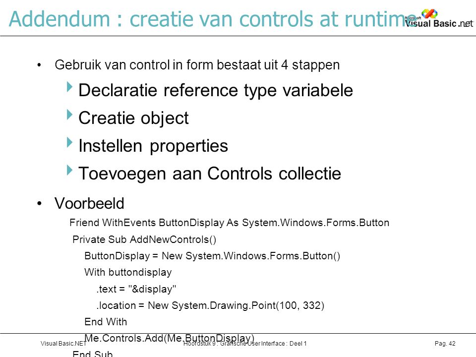 Addendum : creatie van controls at runtime