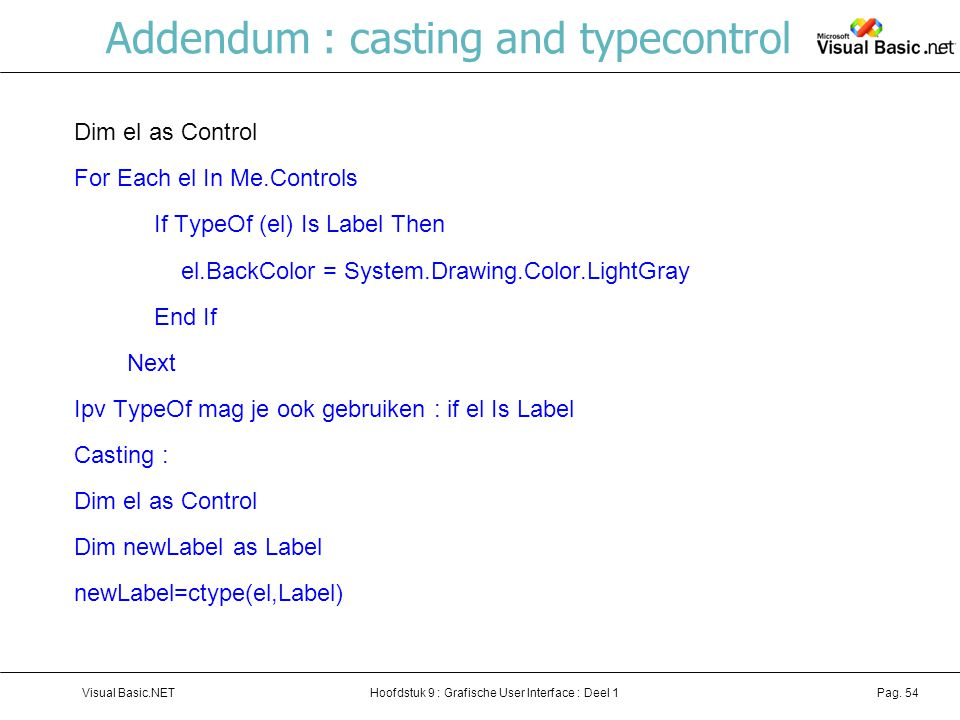 Addendum : casting and typecontrol