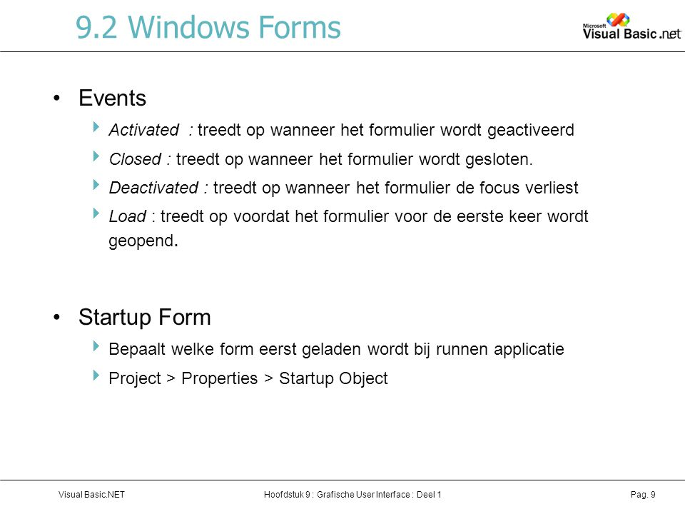 9.2 Windows Forms Events Startup Form