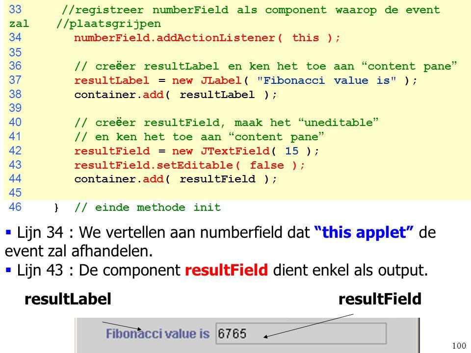 Lijn 43 : De component resultField dient enkel als output.