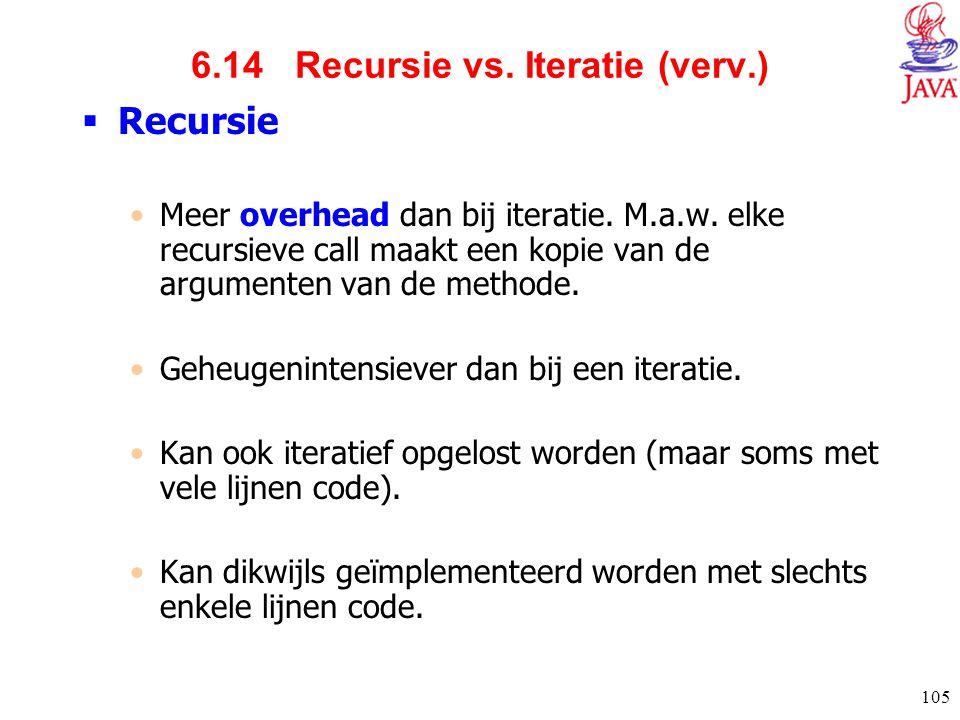6.14 Recursie vs. Iteratie (verv.)