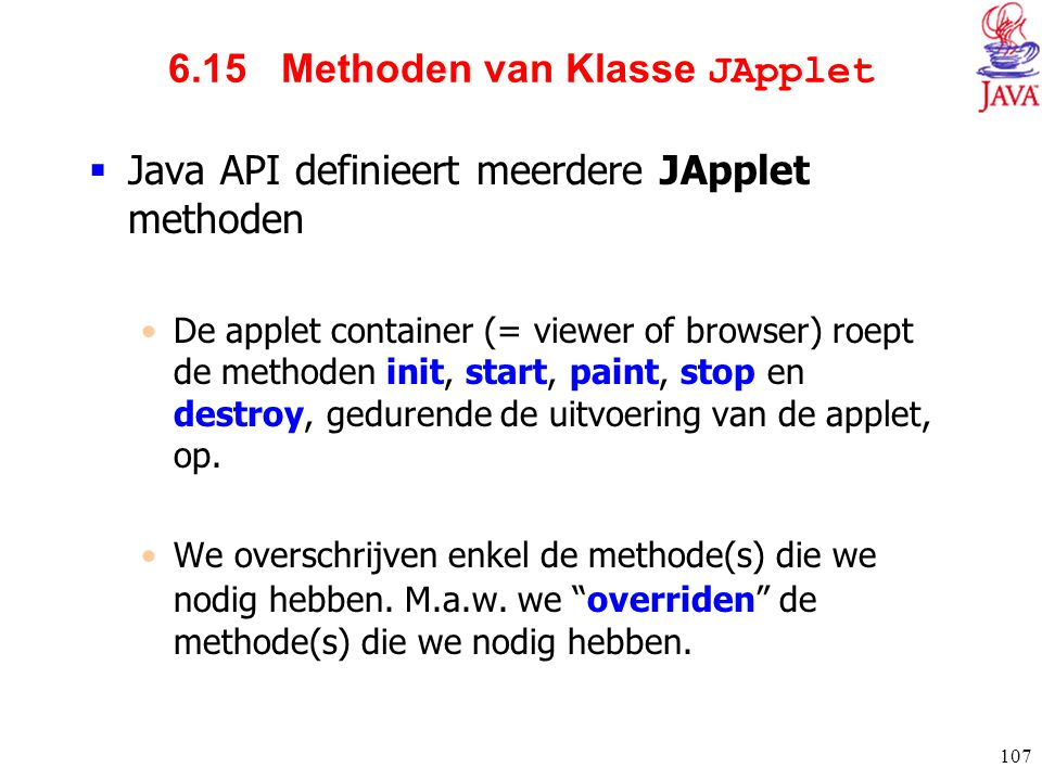 6.15 Methoden van Klasse JApplet