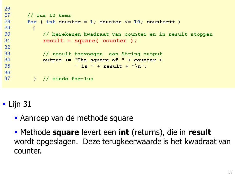 Aanroep van de methode square