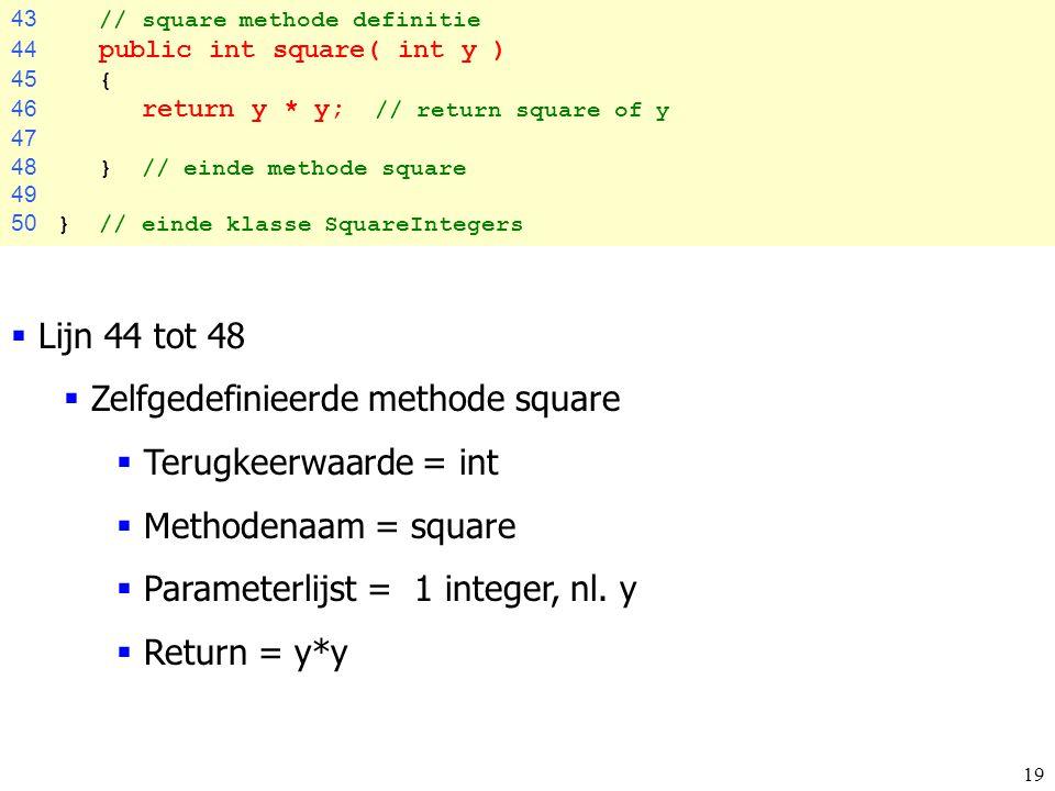 Zelfgedefinieerde methode square Terugkeerwaarde = int