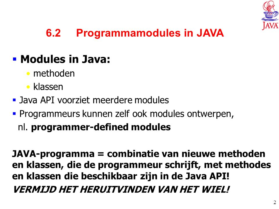6.2 Programmamodules in JAVA
