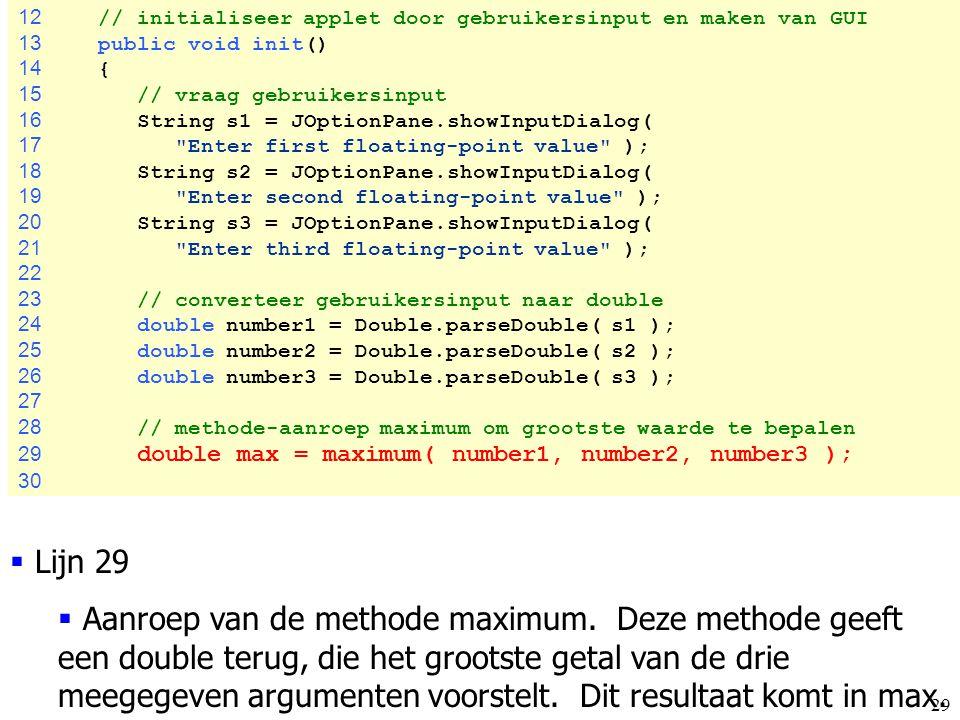 12 // initialiseer applet door gebruikersinput en maken van GUI