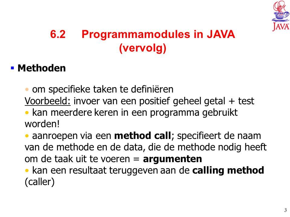 6.2 Programmamodules in JAVA (vervolg)