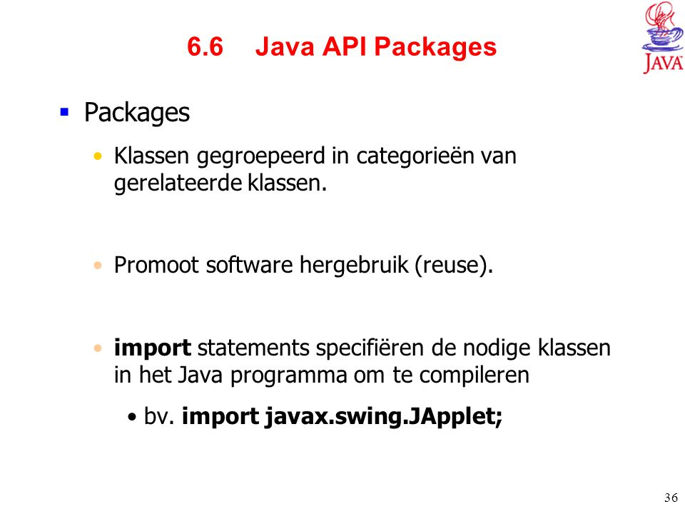 6.6 Java API Packages Packages