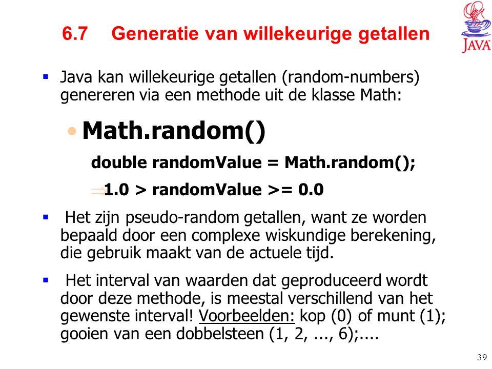 6.7 Generatie van willekeurige getallen