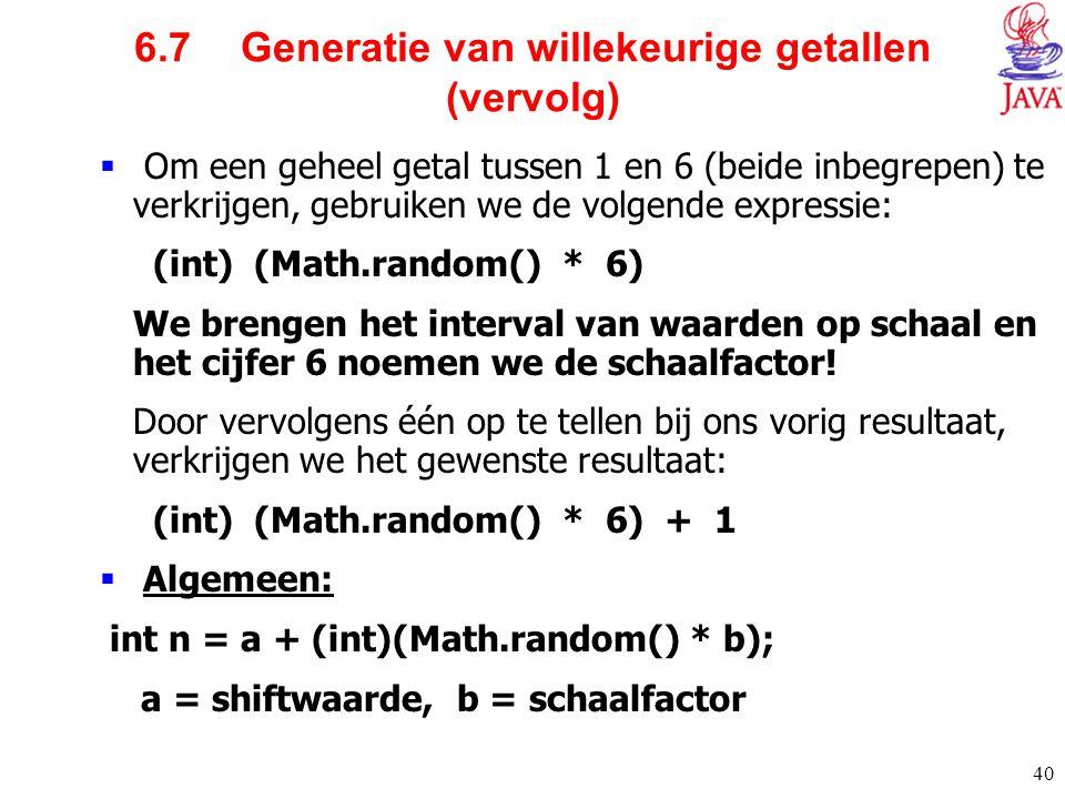 6.7 Generatie van willekeurige getallen (vervolg)