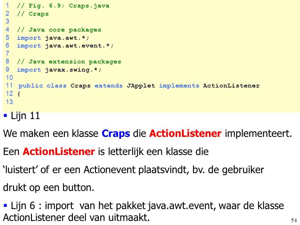 We maken een klasse Craps die ActionListener implementeert.