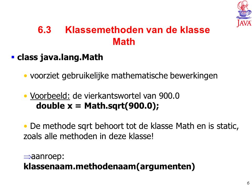 6.3 Klassemethoden van de klasse Math