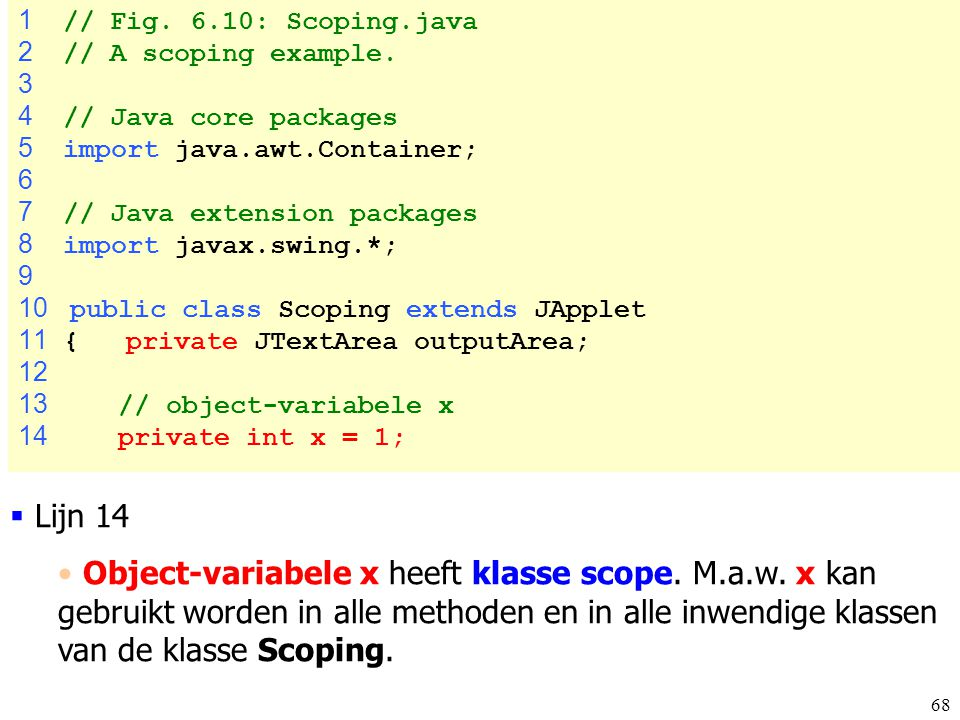 1 // Fig. 6.10: Scoping.java 2 // A scoping example. 3. 4 // Java core packages. 5 import java.awt.Container;