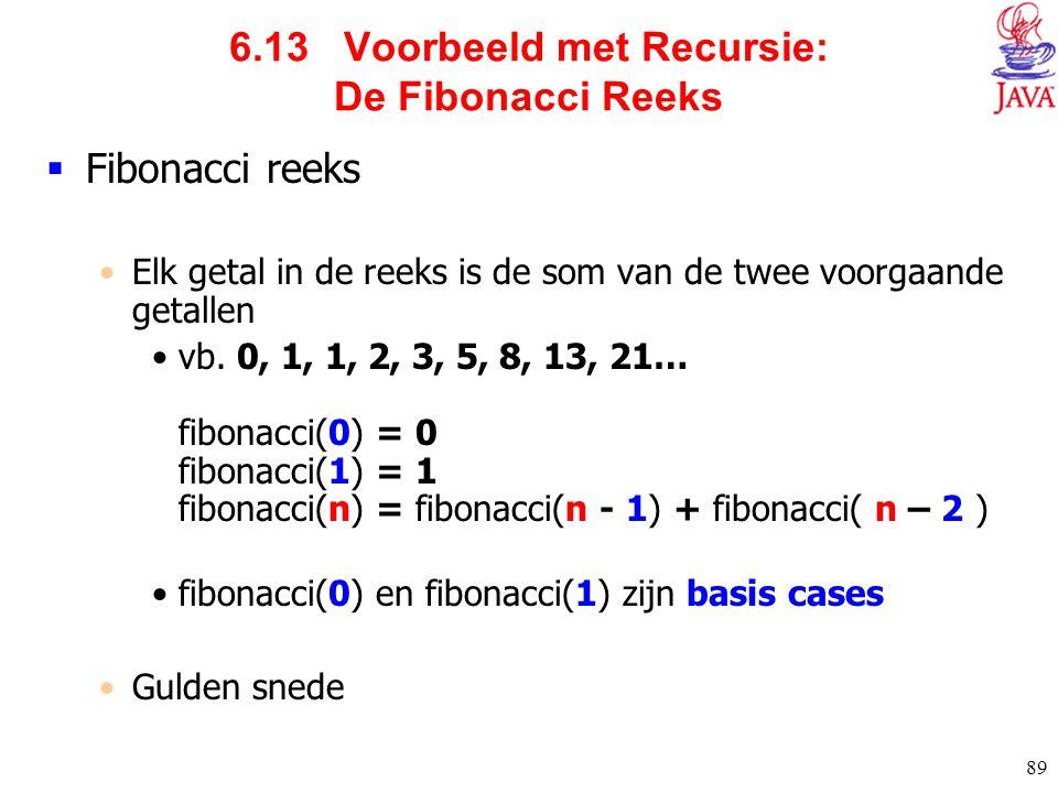 6.13 Voorbeeld met Recursie: De Fibonacci Reeks