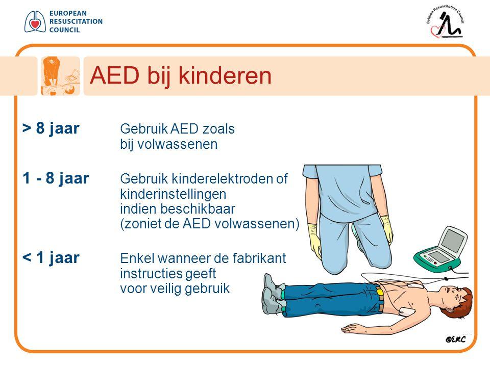 AED bij kinderen > 8 jaar Gebruik AED zoals