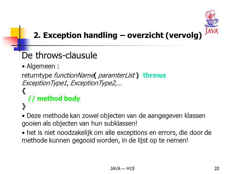 De throws-clausule 2. Exception handling – overzicht (vervolg)