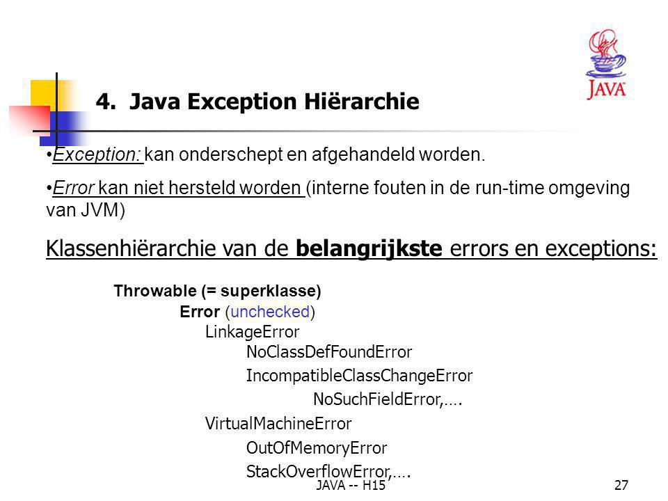 4. Java Exception Hiërarchie