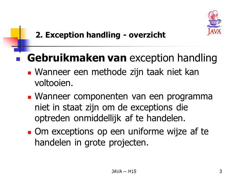 2. Exception handling - overzicht