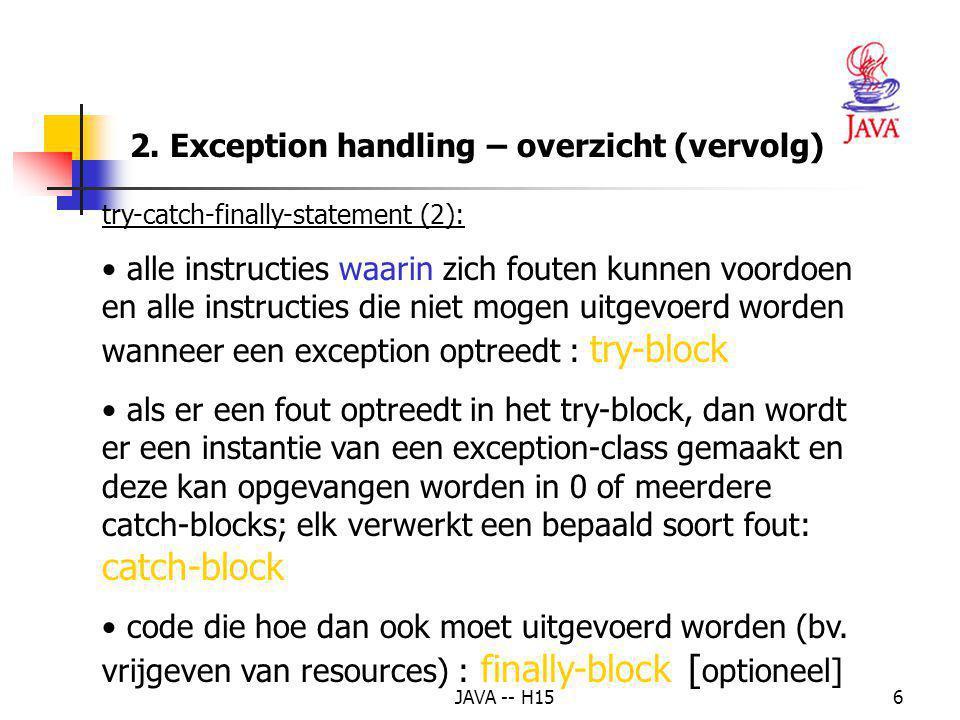 2. Exception handling – overzicht (vervolg)