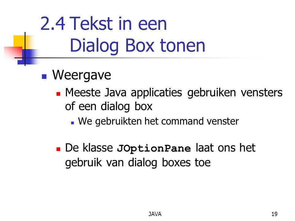 2.4 Tekst in een Dialog Box tonen