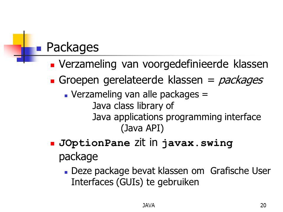 Packages Verzameling van voorgedefinieerde klassen