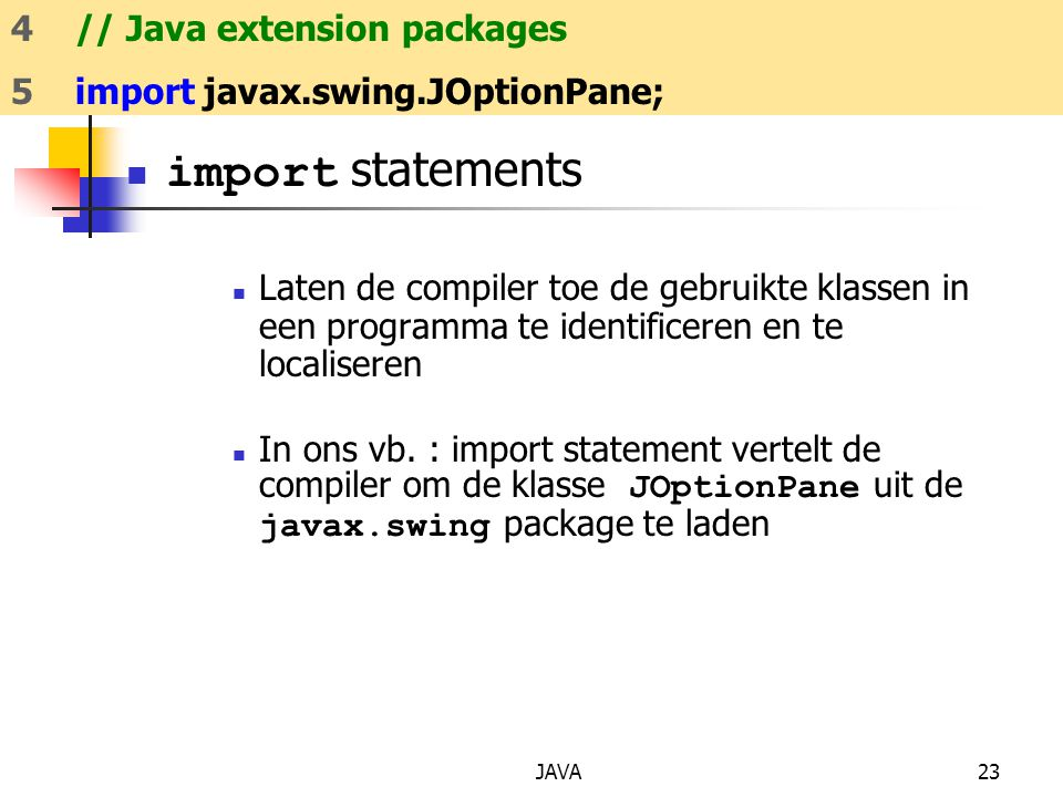 import statements 5 import javax.swing.JOptionPane;