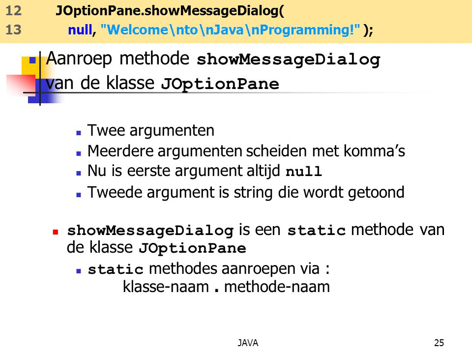 Aanroep methode showMessageDialog van de klasse JOptionPane