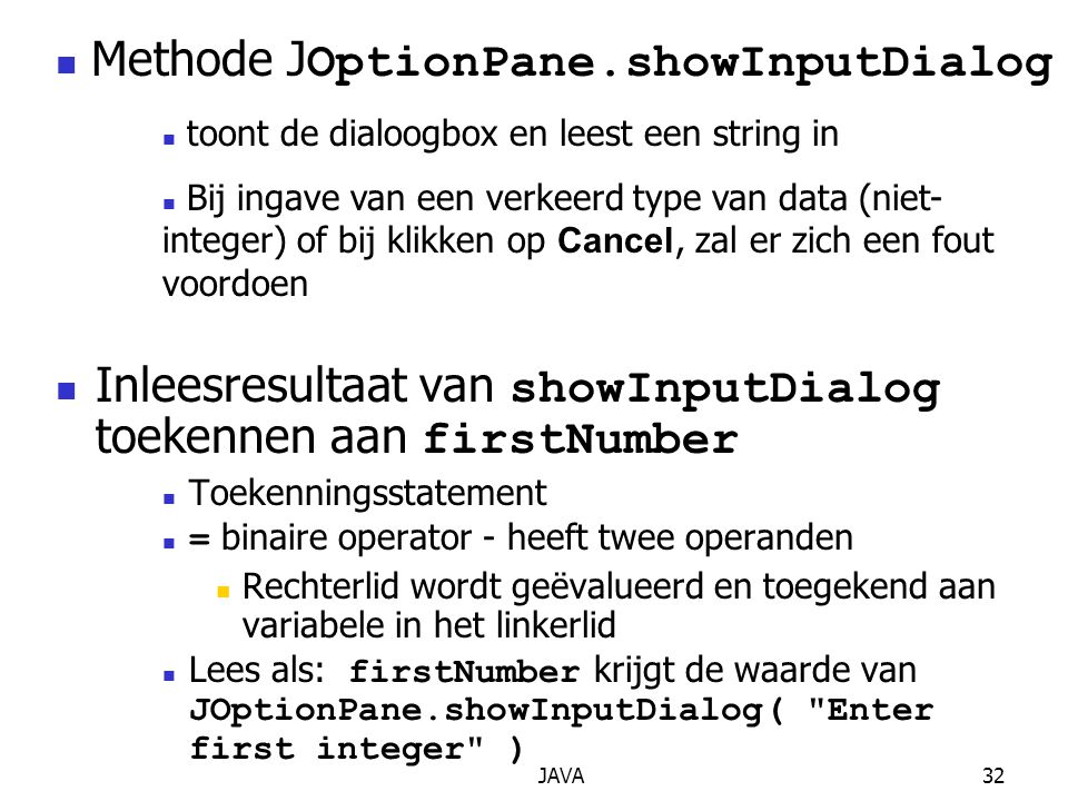 Methode JOptionPane.showInputDialog