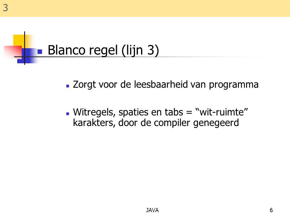 Blanco regel (lijn 3) 3 Zorgt voor de leesbaarheid van programma