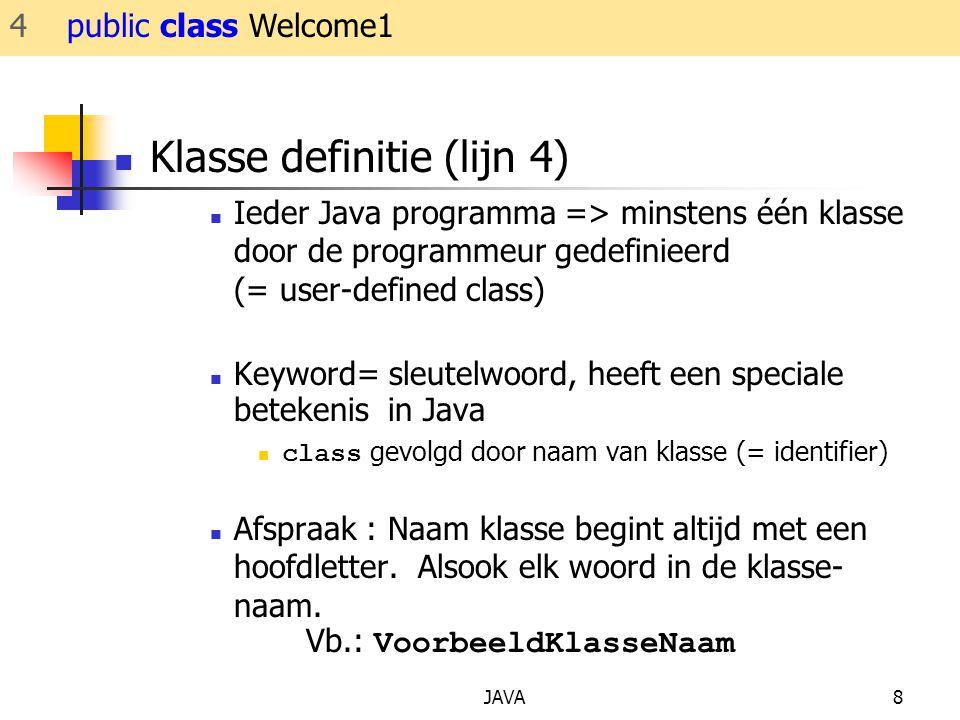 Klasse definitie (lijn 4)