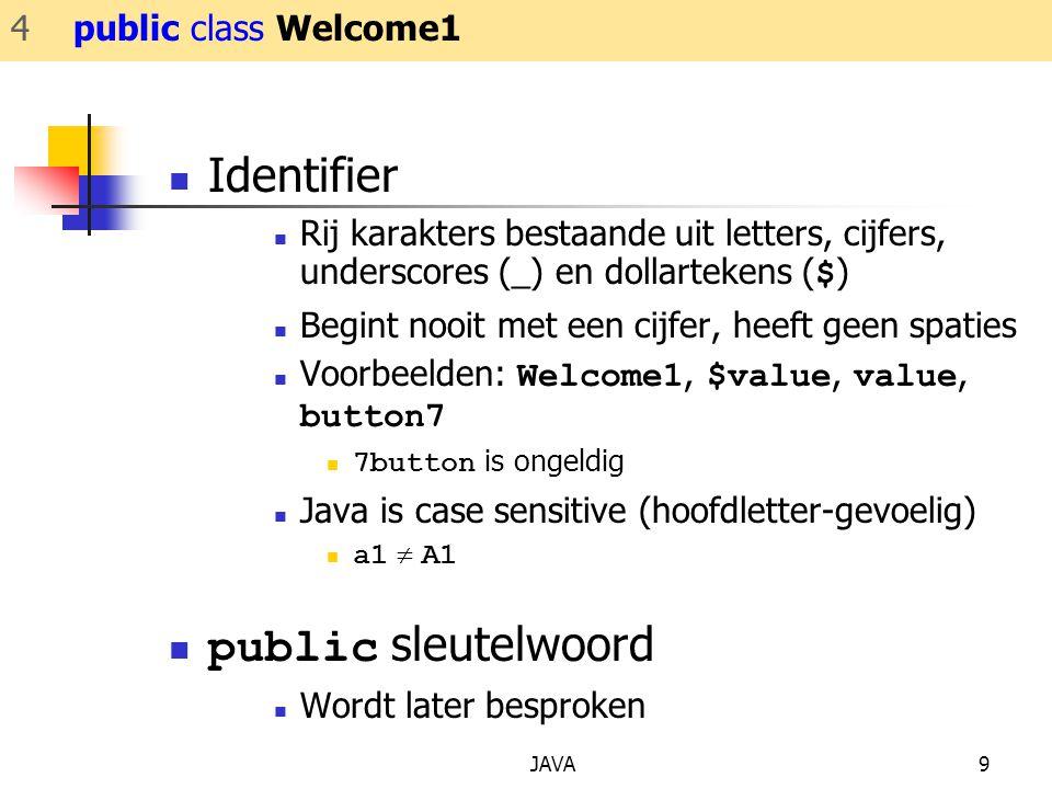Identifier public sleutelwoord 4 public class Welcome1