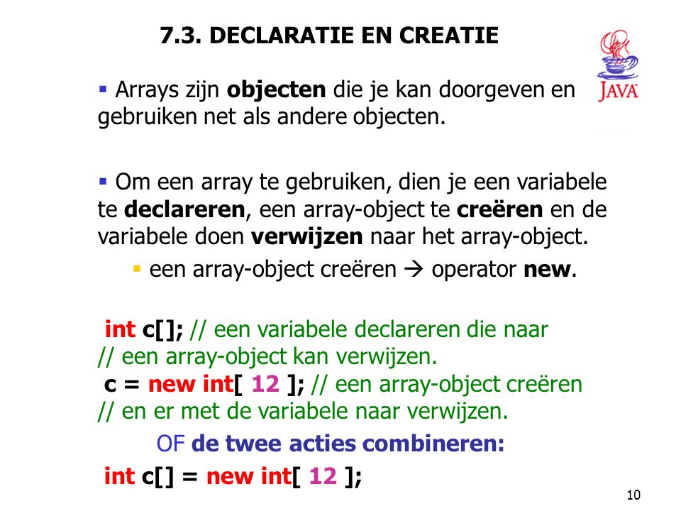 een array-object creëren  operator new.