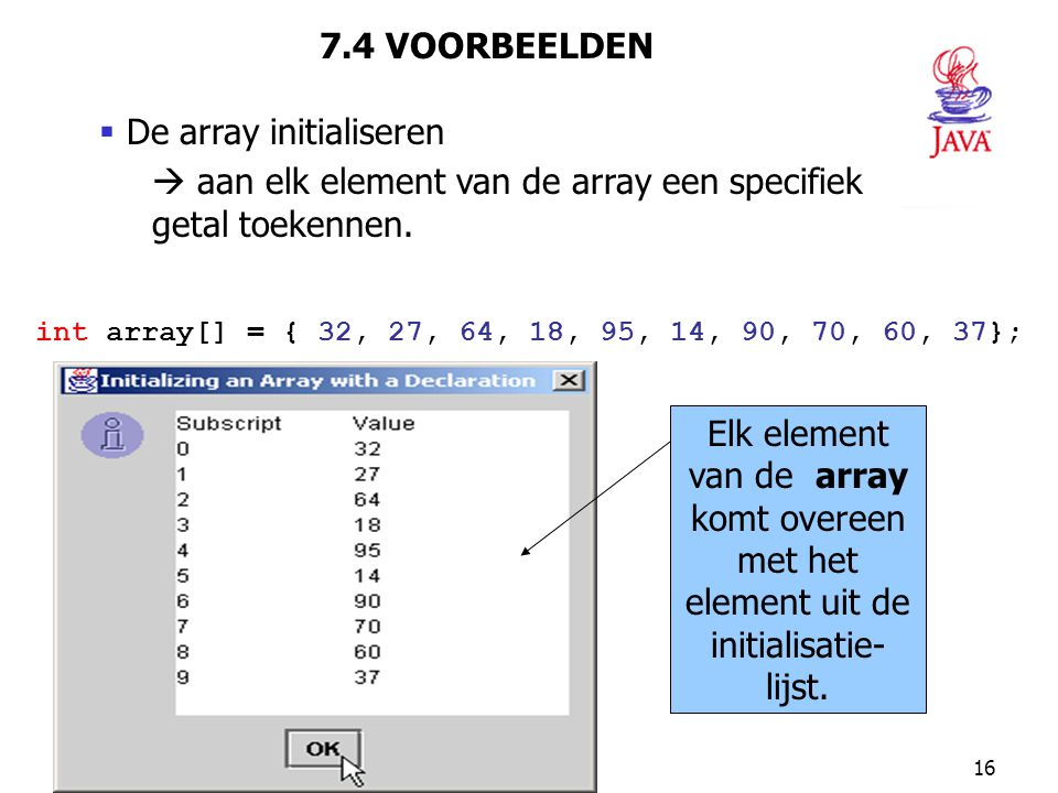 De array initialiseren