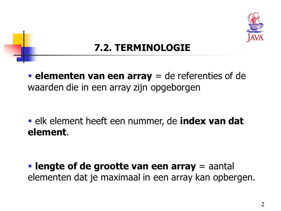 7.2. TERMINOLOGIE elementen van een array = de referenties of de waarden die in een array zijn opgeborgen.