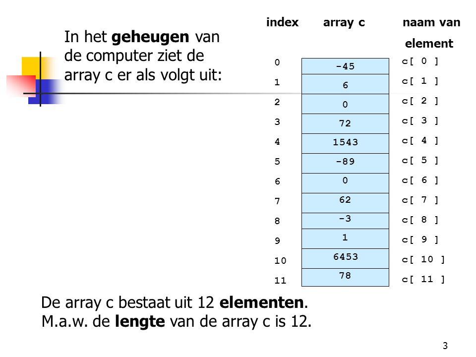 In het geheugen van de computer ziet de array c er als volgt uit: