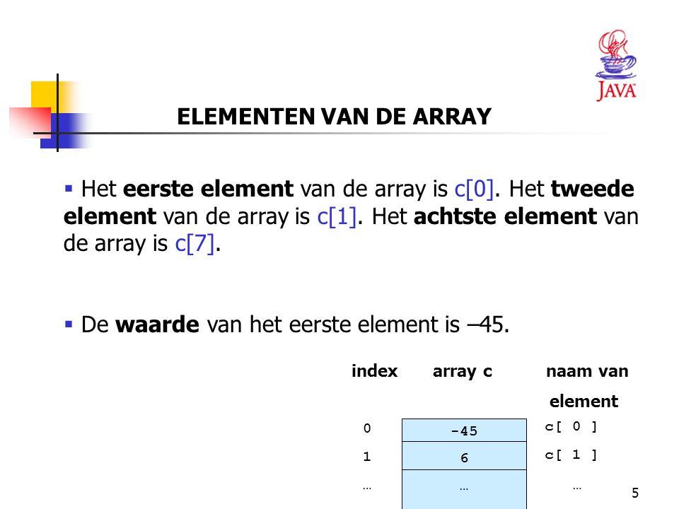 De waarde van het eerste element is –45.
