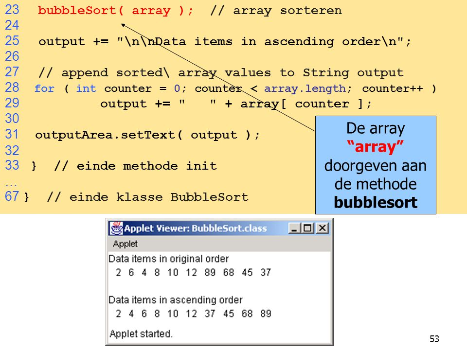 De array array doorgeven aan de methode bubblesort