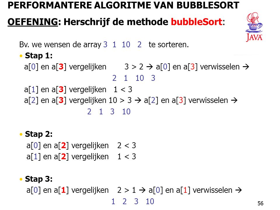 PERFORMANTERE ALGORITME VAN BUBBLESORT