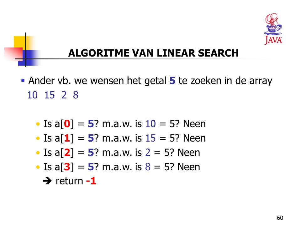ALGORITME VAN LINEAR SEARCH